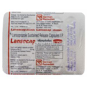 Lansocap, Generic Prevacid, Lansoprazole 30mg Sustained Release Capsule Strip Information