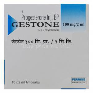 Gestone, Progesterone Injection 100mg per 2ml Ampoules Box