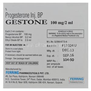 Gestone, Progesterone Injection 100mg per 2ml Ampoules Box Information