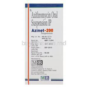 Azinet-200, Generic Zithromax, Azithromycin Oral Suspension 200mg per 5ml 15ml Box Batch
