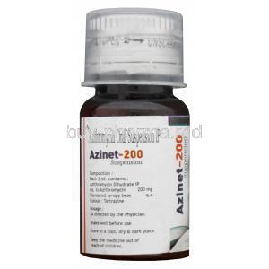 Azinet-200, Generic Zithromax, Azithromycin Oral Suspension 200mg per 5ml 15ml Bottle Composition