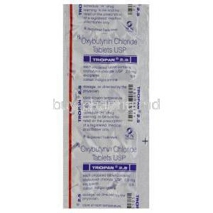 Tropan 2.5, Generic Ditropan, Oxybutynin Chloride 2.5mg Tablet Blister Pack Information