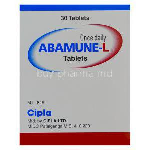 Abamune-L, Generic Kivexa, Abacavir 600mg and Lamivudine 300mg Box