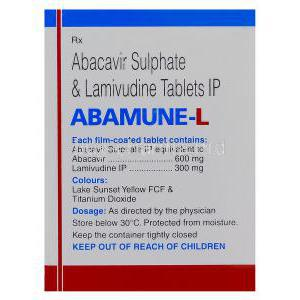 Abamune-L, Generic Kivexa, Abacavir 600mg and Lamivudine 300mg Box Information