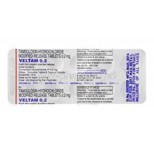 Veltam 0.2, Generic Flomax, Tamsulosin Hydrochloride 0.2mg Modified Release Tablet Strip Information