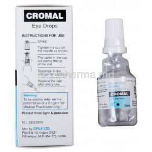 Cromal Eye Drops, Generic Intal Eye Drops, Sodium Cromoglycate Ophthalmic Solution 2% 5ml Manufacturer Cipla