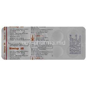 Simlup 20, Generic  Zocor, Simvastatin 20mg Tablet Strip Information