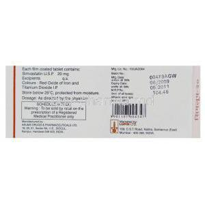 Simlup 20, Generic  Zocor, Simvastatin 20mg Box Information