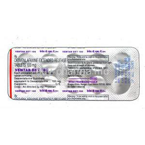 Ventab DXT, Generic Pristiq,  Desvenlafaxine 100mg Extended Release packaging information