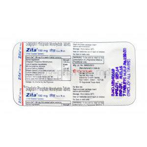 Zita, Generic Januvia, Sitagliptin 100mg blister packaging