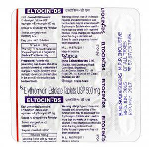 Eltocin-DS, Erythromycin, Erythromycin Estolate 500mg tablet packaging