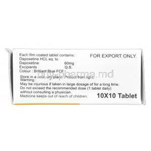 Poxet, Generic Priligy, Dapoxetine 60mg compostion