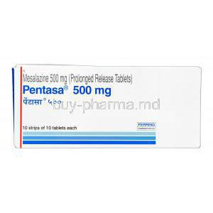Pentasa, Mesalazine 500mg box