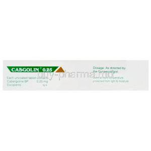 Cabgolin, Cabergoline 0.25mg Box Information
