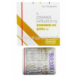 Zonimid, Zonisamide 50mg box and capsules