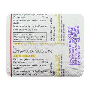 Zonimid, Zonisamide 50 mg packaging