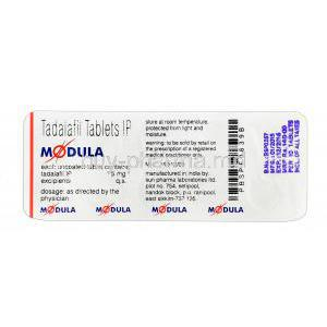 Modula, Tadalafil 5mg Tablet Strip Information