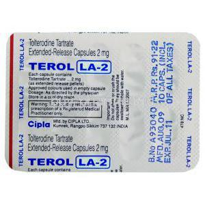 Terol LA,  Tolterodine  XR  2 mg blister pack