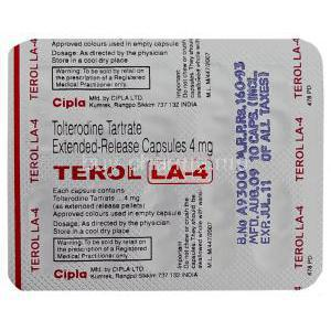Terol LA, Tolterodine XR 4 mg Blister pack