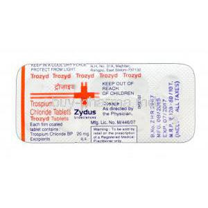 Trozyd, Trospium Chloride 20mg blister pack information