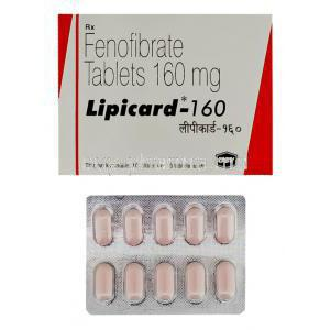 Lipicard, Generic  Tricor, Fenofibrate 160 mg USV  tablet and box