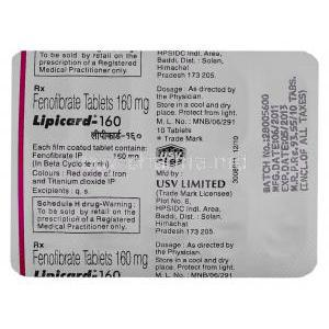 Lipicard, Generic Tricor, Fenofibrate 160 mg USV blister info