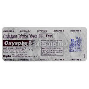 Oxyspas, Generic  Ditropan, Oxybutynin 5 mg (Cipla)  blister pack