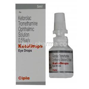 Acular, Ketorolac Tromethamine Opthalmic Solution bottle and box