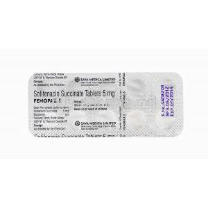 Fenopaz, Solifenacin Succinate 5mg blister pack information