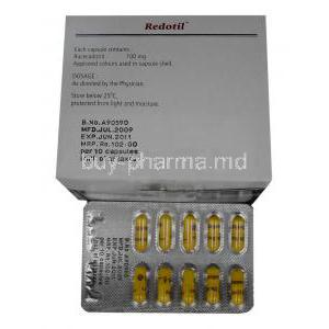 Racecadotril 100 mg Capsule and box