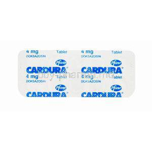 Cardura, Doxazosin 4mg Tablet Strip Back