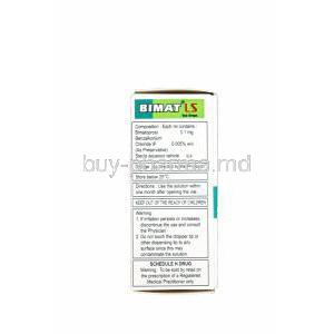 Bimat LS, Generic Lumigan, Bimatoprost 0.01% Eye Drops 3ml Box Information