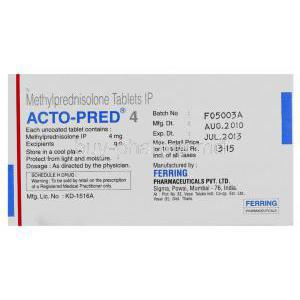 Acto-Pred, Generic Medrol, Methylprednisolone 4 mg (Ferring) manufacturer info