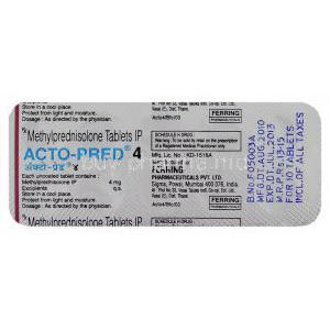 Acto-Pred, Generic Medrol, Methylprednisolone 4 mg (Ferring) composition