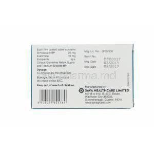 Etalize-S 20, Generic Vytorin, Simvastatin 20mg and Ezetimibe 10mg Box Information