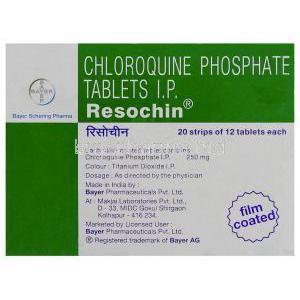 Resochin DS-Tab, Chloroquine 500 mg Tablets (Bayer)  Box information