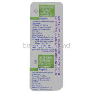 Resochin DS-Tab, Chloroquine 500 mg Tablets (Bayer)  packaging