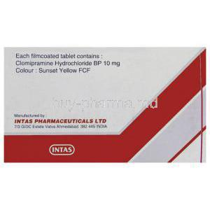 Clonil, Generic Anafranil, Clomipramine Hydrochloride 10 mg Tablet Intas manufacturer info