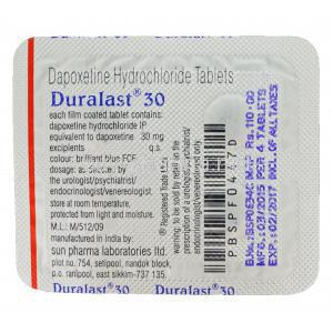 Duralast 30, Generic Priligy, Dapoxetine 30mg Tablet Strip Information
