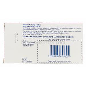 Besavar XL, Generic Uroxatral, Alfuzosin Hydrochloride 10mg Sustained Release Box Information