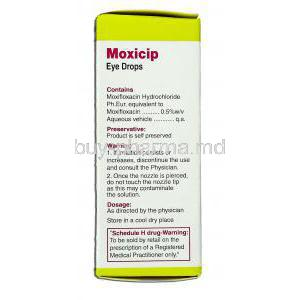 Moxicip, Moxifloxacin Hcl 0.5% 5 ml Ophthalmic Solution (Cipla) Compostion
