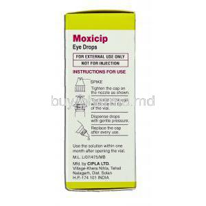 Moxicip, Moxifloxacin 0.5% 5 Ml Ophthalmic Solution (Cipla) Directions