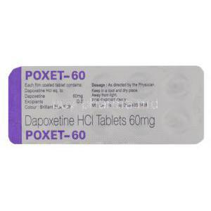 Poxet, Dapoxetine 60 mg Tablet Packaging information