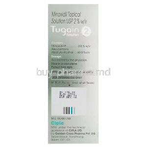 Tugain Solution 2, Minoxidil Topical Solution 2% 60ml Box Information
