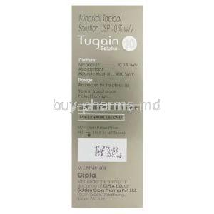 Tugain Solution 10, Minoxidil Topical Solution 10% 60ml Box Information