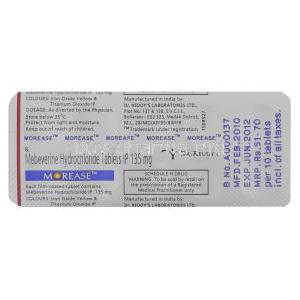 Morease, Generic Colospa Mebeverine 135 mg Tablet Packaging info