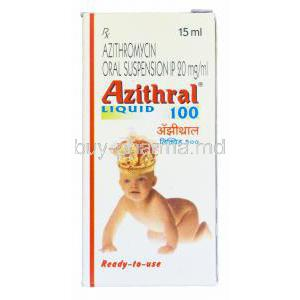Azithral Liquid 100 15ml, Generic Zithromax, Azithromycin Oral Suspension 20mg per ml Box