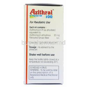 Azithral Liquid 100 15ml, Generic Zithromax, Azithromycin Oral Suspension 20mg per ml Box Information