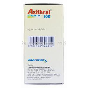Azithral Liquid 100 15ml, Generic Zithromax, Azithromycin Oral Suspension 20mg per ml Box Manufacturer