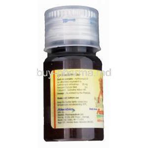 Azithral Liquid 100 15ml, Generic Zithromax, Azithromycin Oral Suspension 20mg per ml Bottle Information